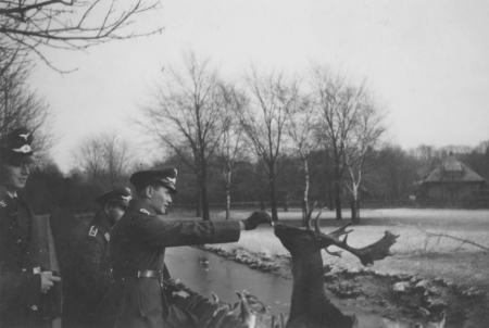 HVB FO 00241  Militaiten van de Luftwaffe bij het hertenkamp