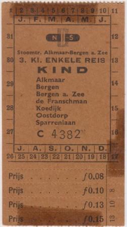 HVB FO 00559  Treinkaartje voor Bello, omstreeks 1954