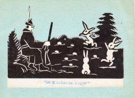 HVB FO 00597  Geknipt en geplakt werkstukje De Rustende Jager door Matthieu Wiegman, 1933
