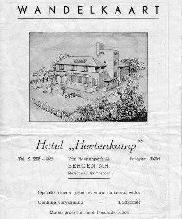 HVB FO 00598  Wandelkaart Hotel Hertenkamp