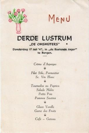 HVB FO 00603  Menukaart van De Rustende Jager voor De Omsmijters, 1947