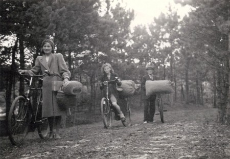 HVB FO 00668  Familie komt met zakken dennenappels uit het bos